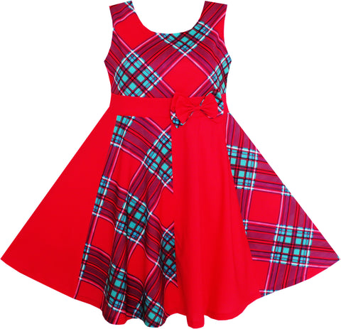 Girls Red Checked Contrast Dress Party Size 7-14 Years