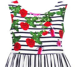 Girls Dress Striped Red Rose Bow Tie Princess Party School Size 4-12 Years