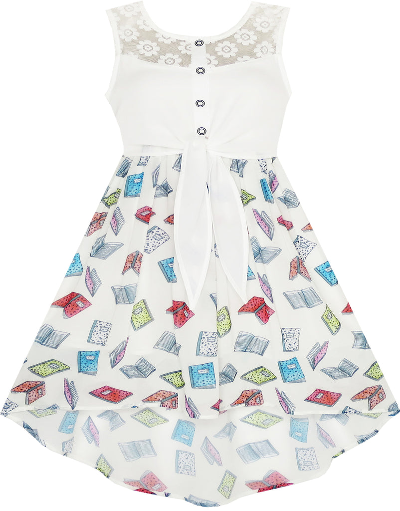 Girls Dress Lace Book Printed Tied Waist School Size 7-14 Years