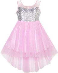 Flower Girls Dress Sequin Mesh Hi-lo Wedding Pageant Birthday Size 7-14 Years