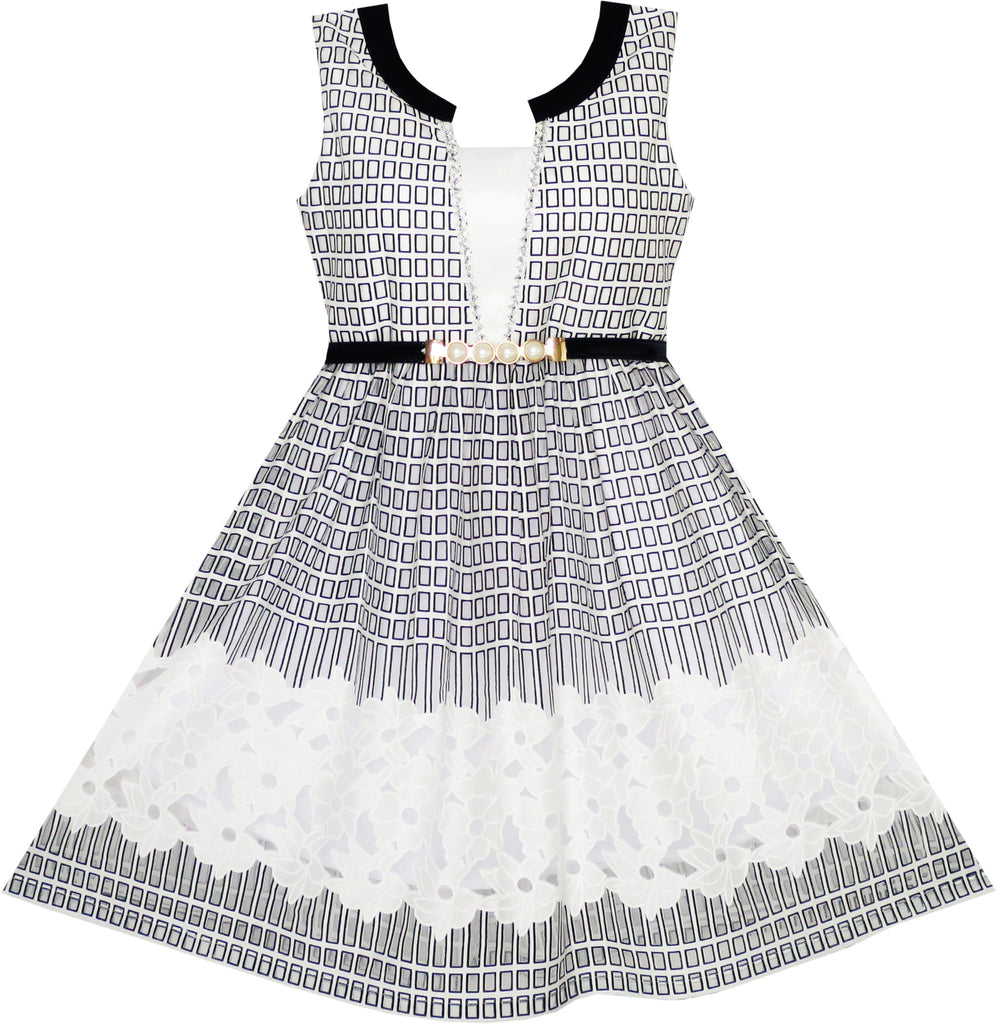 2-in-1 Girls Party Dress Checkered Black White Lace Belt Princess Size 7-14 Years