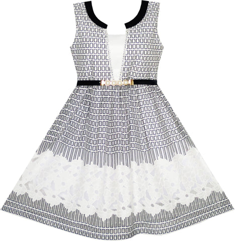 2-in-1 Girls Party Dress Checked Black White Lace Belt Princess Size 7-14 Years