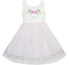 Flower Girls Dress Embroidered Sparkling White Princess Size 2-6 Years