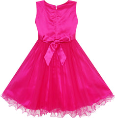 Flower Girls Dress Lace Pearl Dimensional Flowers Pageant Wedding Tulle Size 3-12 Years