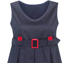 Girls Dress Navy Blue Back School Pleated Hem Size 6-14 Years