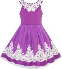 Flower Girls Dress Blueviolet Lace Pageant Wedding Party Size 7-14 Years