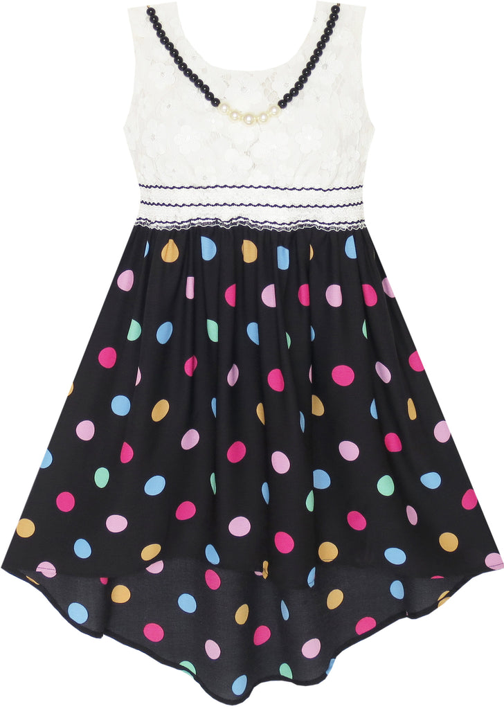 Girls Dress Hi-lo Maxi Chiffon Lace Polka Dot Necklace Party Size 7-14 Years