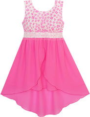 Girls Dress Hi-lo Maxi Chiffon Lace Flower Party Holiday Size 7-14 Years