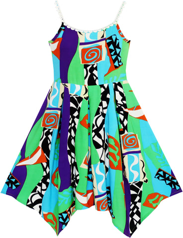 Girls Dress Halter Color Block Print Hanky Hem Size 7-14 Years