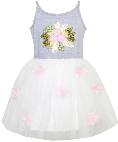 Girls Dress Knitted Cotton Stretch Tulle Overlay Flower Size 4-10 Years