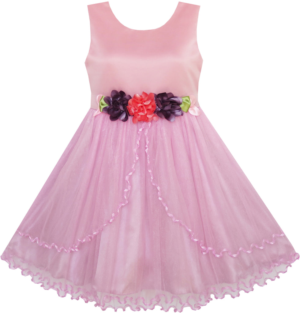 Flower Girl Dress Pageant Wedding Party Tulle Overlay Size 4-10 Years