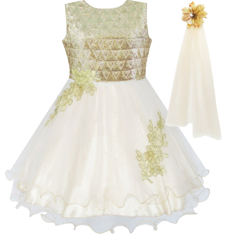 Flower Girls Dress Champagne Sparkling Lace Dress Pageant Size 4-10 Years