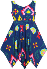 Girls Dress Flower Print Hanky Hem With Necklace Size 7-14 Years