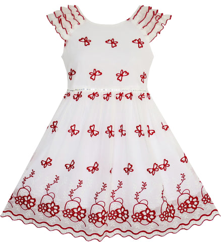 Girls Dress Maroon Embroidered Butterfly Dress Princess Pageant Size 4-10 Years