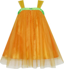 Girls Dress Pumpkin Tulle Party Dress Holloween Costume Size 3-12 Years