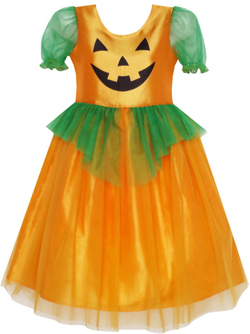 Girls Dress Pumpkin Tulle Party Dress Holloween Costume Size 3-14 Years
