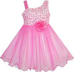 Girls Dress One-shoulder Flower Dress Pink Pageant Wedding Size 4-10 Years