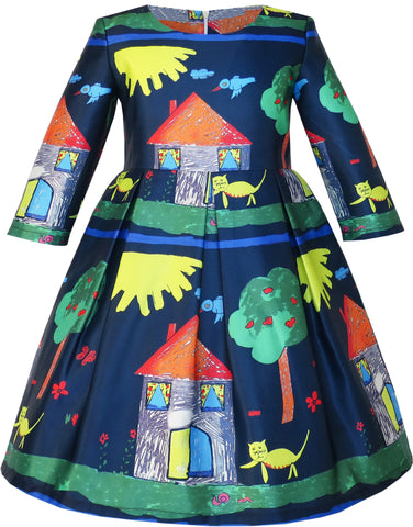 Girls Dress House Tree Print Cartoon Long Sleeve Winter Dress Size 4-14 Years