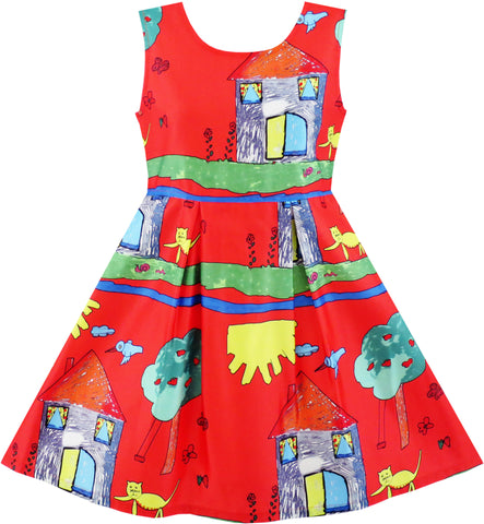 Girls Dress House Tree Cat Bird Print Party Size 4-10 Years