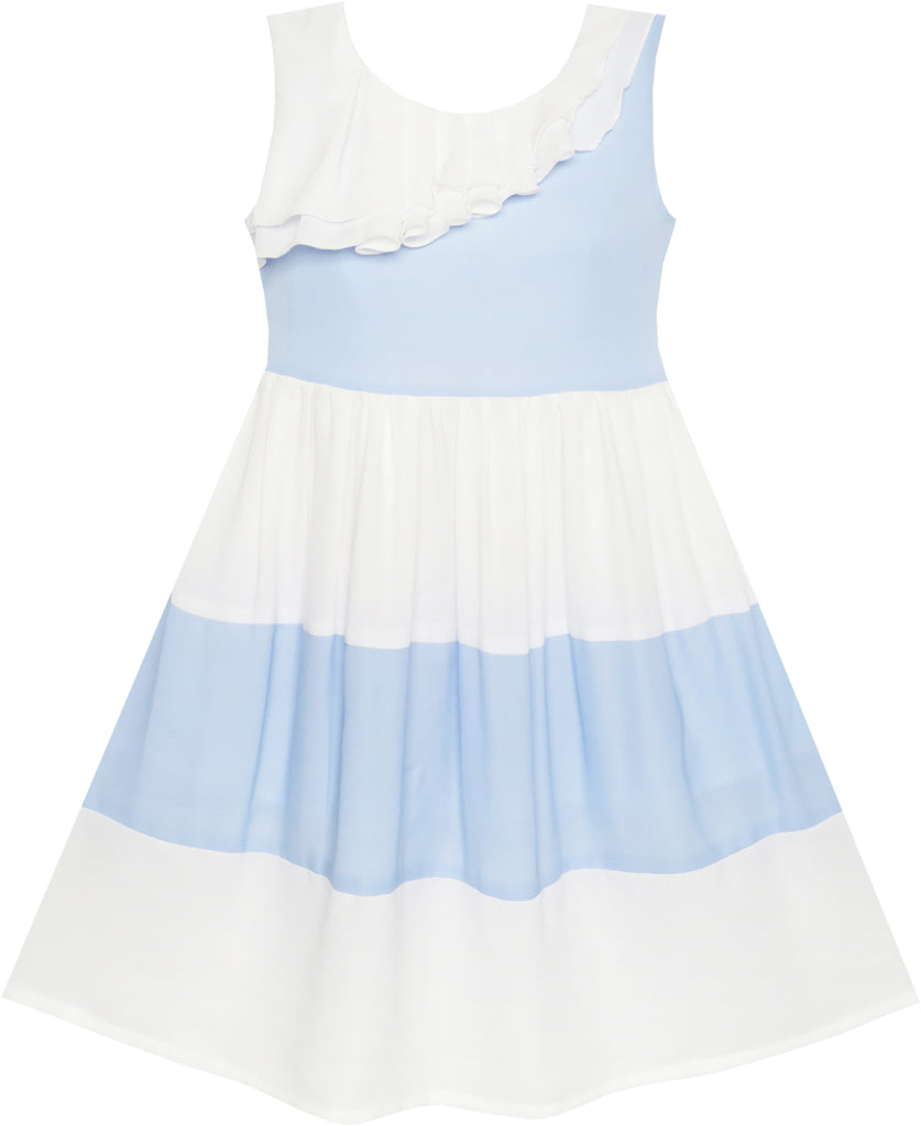 e559c8334d88 Girls Dress Pleated Collar Color Block Chiffon – Sunny Fashion