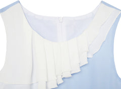 Girls Dress Pleated Collar Color Block Chiffon Size 7-16 Years