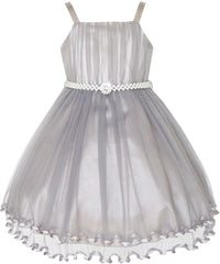 Flower Girls Dress Pearl Belt Pageant Wedding Party Size 3-14 Years