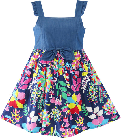 Flower Girls Dress Denim Back To School Sling Size 4-10 Years