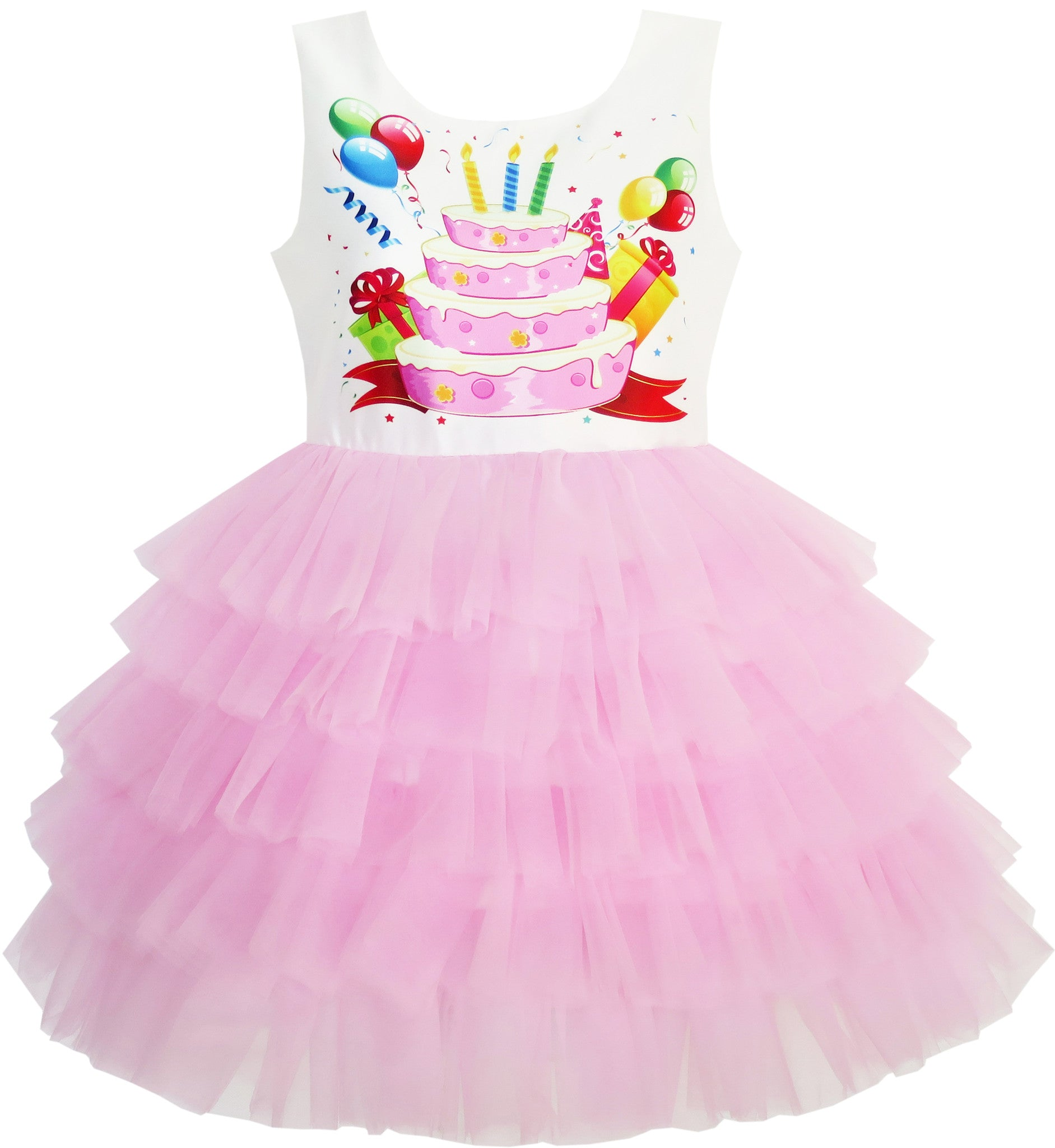 Astounding Girls Dress Birthday Princess Ruffle Dress Cake Balloon Print Funny Birthday Cards Online Barepcheapnameinfo