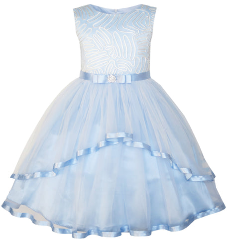 Flower Girls Dress Blue Belted Wedding Party Bridesmaid Size 4-12 Years