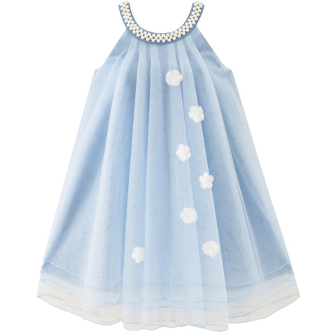 Flower Girls Dress Halter Dress Pearl Party Wedding Birthday Size 4-14 Years