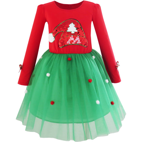 Girls Dress Christmas Santa Hat Long Sleeve Party Dress Size 6-12 Years