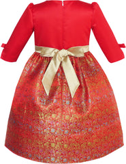 Girls Dress Fit & Flare Glitter Jacquard Christmas Holiday Size 4-10 Years
