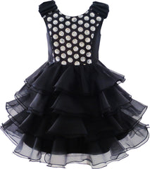 Girls Dress Ruffles Tulle Tiered Dress Sequin Party Birthday Princess Size 4-12 Years