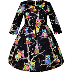Girls Dress Fit-and-flare Owl Print Party Long Sleeve Cute Size 4-14 Years