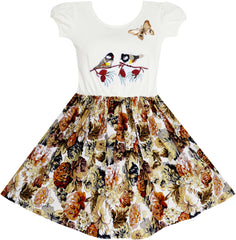Girls Dress Vintage Bird Butterfly School Party Dress Size 5-10 Years