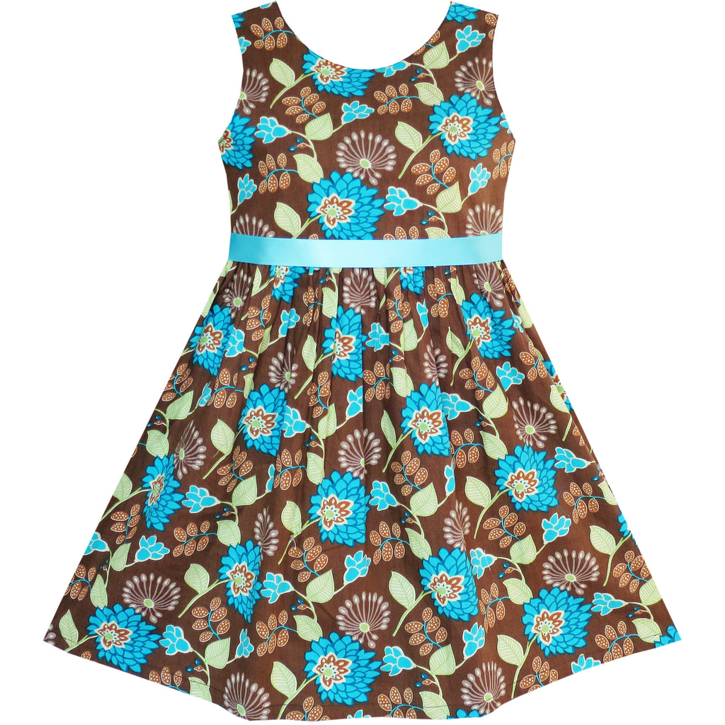 Girls Dress Flower Coffee Summer Beach Dress Size 2-10 Years