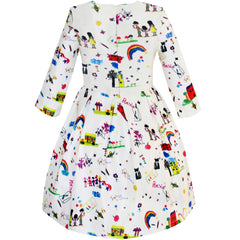 Girls Dress House Rainbow Bus Printed Cartoon Winter Dress Size 4-14 Years