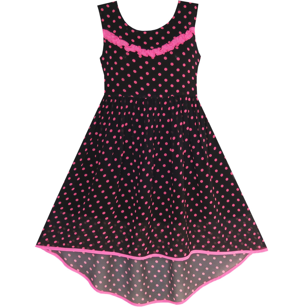 Girls Dress Hi-lo Polka Dot Pleated Chiffon Party Dress Size 7-14 Years