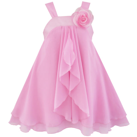 Girls Dress A-line Halter Flower Multi Layer Chiffon Size 4-14 Years