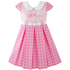 Girls Dress Pink Belted School Pleated Hem Size 4-14 Years