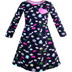 Girls Dress Cartoon Hands Heart Dog Printed Casual Size 3-12 Years