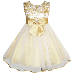 Flower Girls Dress Bow Tie Champagne Wedding Pageant Size 2-10 Years