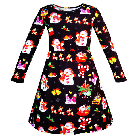 Girls Dress Christmas Santa Xmas Tree Jingle Bell Size 3-12 Years