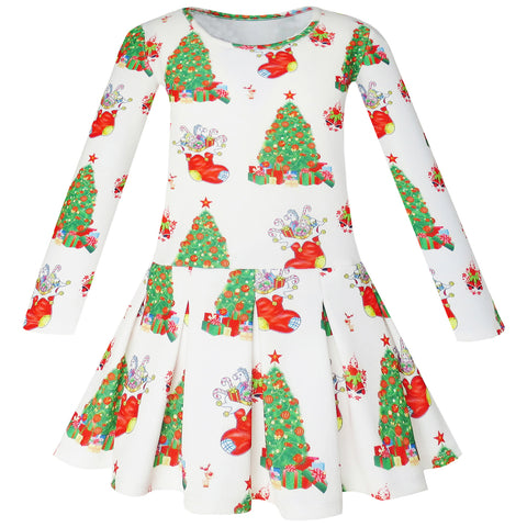 Girls Dress Christmas Tree Xmas Stockings Holiday Size 4-10 Years