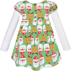 Girls Dress Christmas Santa Reindeer 2-in-1 Top Dress Size 2-8 Years