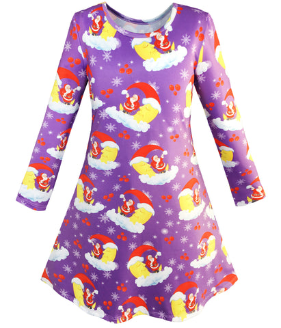 Girls Dress Christmas Santa Xmas Tree Jingle Bell Size 4-12 Years