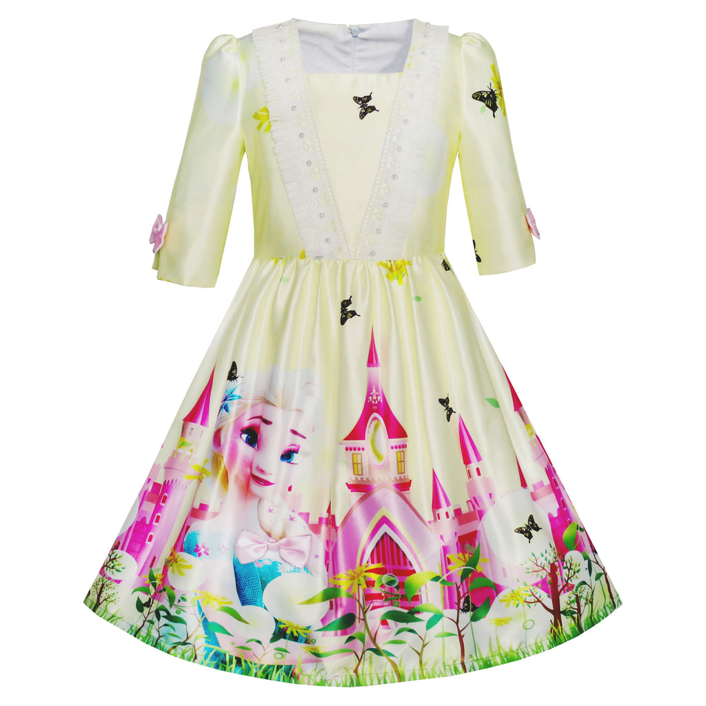 Girls Dress Princess Elsa Castle Butterfly 3/4 Sleeve Dress Size 4-12 Years