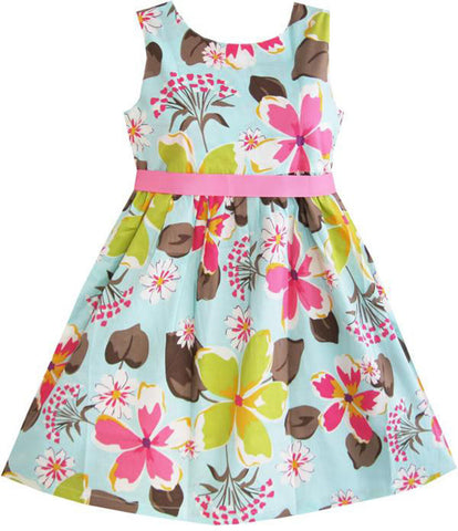 Girls Dress Blue Flower Print