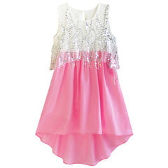 Girls Dress Sequined Hi-lo Chiffon Beach Party Sundress Size 6-14 Years