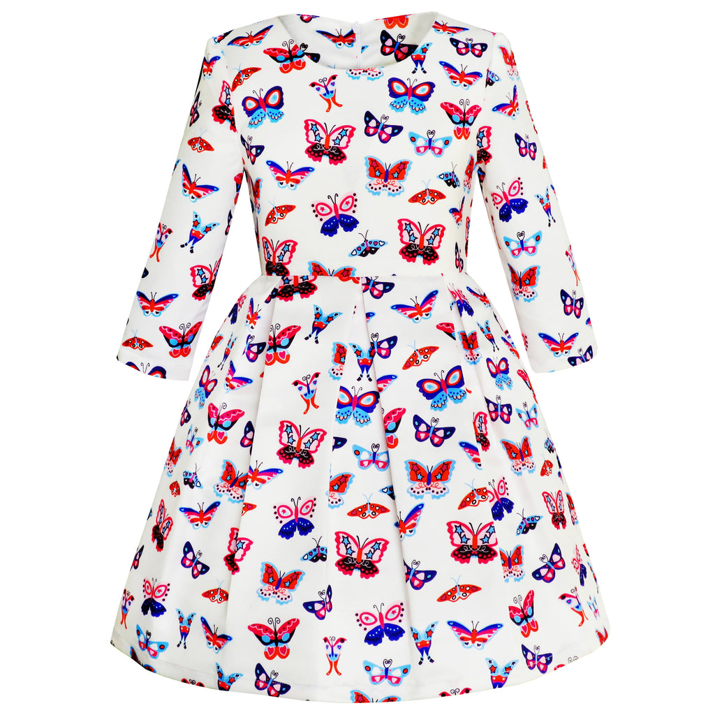 Girls Dress Butterfly Long Sleeve Winter Dress Size 4-14 Years
